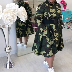 Camouflage Cotton Hi Lo Dress